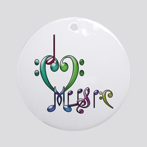 I Love Music Ornament (Round)