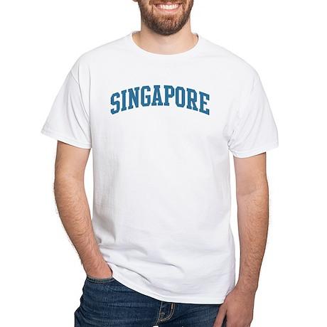 Singapore (blue) White T-Shirt