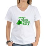 Glaucoma Awareness Month BEE 3 Women's V-Neck T-Sh