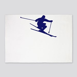 Skiing I Do All My Own Stunts Downh 5'x7'Area Rug