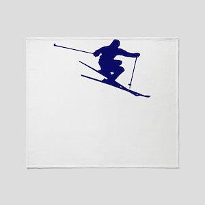 Skiing I Do All My Own Stunts Downhi Throw Blanket