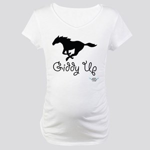 Giddy Up Black Horse Image Maternity T-Shirt
