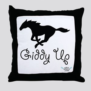 Giddy Up Black Horse Image Throw Pillow