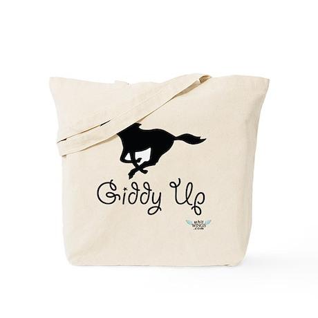 Giddy Up Black Horse Image Tote Bag