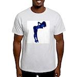 Rockabilly Nude Pin-up Girl (blue 3) Ash Grey T-Sh