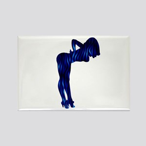 Rockabilly Nude Pin-up Girl (blue 3) Rectangle Mag