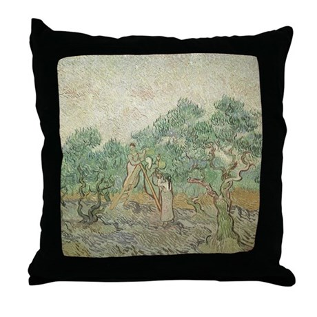 Van Gogh Olive Picking Throw Pillow