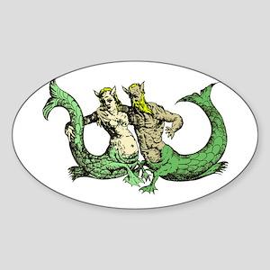 Mermaid & Merman Oval Sticker