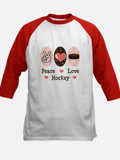Peace Love Hockey Kids Baseball Jersey