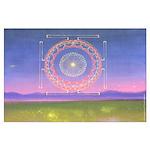 370.heart fire mandala Large Poster