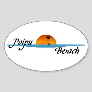 Poipu Beach Oval Sticker