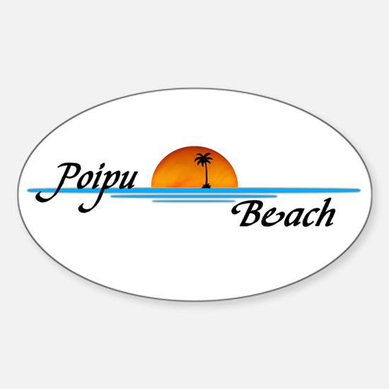 Poipu Beach Oval Decal