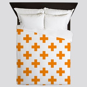 Orange Plus Sign Pattern (Reverse) Queen Duvet