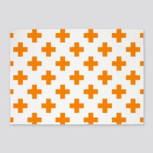 Orange Plus Sign Pattern (Reverse) 5'x7'Area Rug