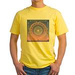 370a.heart fire mandala Yellow T-Shirt