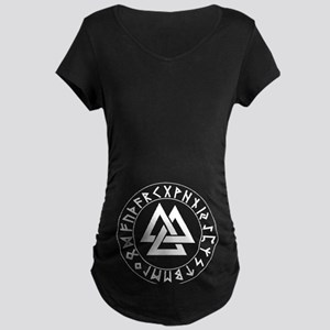 Triple Triangle Rune Shield Maternity Dark T-Shirt