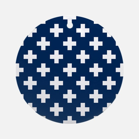 Navy Blue Plus Sign Pattern Round Ornament