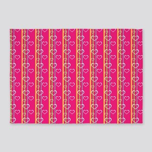Hot Pink Hearts and Stripes Pattern 5'x7'Area Rug