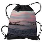 Blue Water Bridge Drawstring Bag