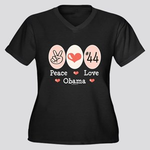 Peace Love 44 Obama Women's Plus Size V-Neck Dark