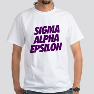 Sigma Alpha Epsilon Slant White T-Shirt