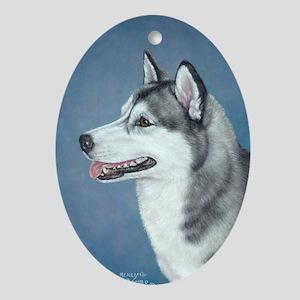 Siberian Husky Oval Ornament