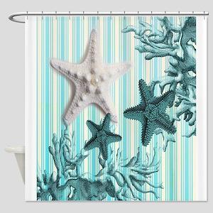 modern blue seashells nautical beac Shower Curtain