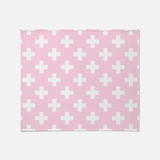 Baby Pink Plus Sign Pattern Throw Blanket