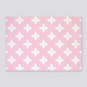 Baby Pink Plus Sign Pattern 5'x7'Area Rug