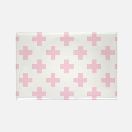 Baby Pink Plus Sign Pattern (Reve Rectangle Magnet