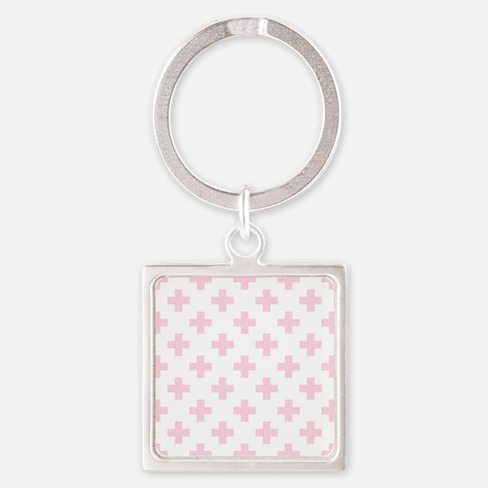 Baby Pink Plus Sign Pattern (Rever Square Keychain