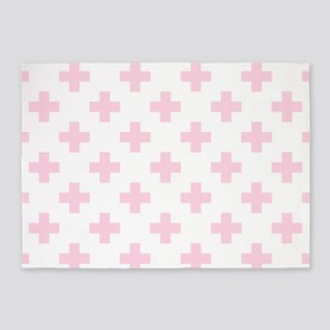Baby Pink Plus Sign Pattern (Revers 5'x7'Area Rug