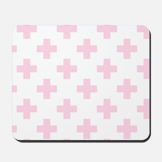Baby Pink Plus Sign Pattern (Reverse) Mousepad
