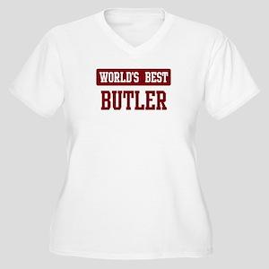 Worlds best Butler Women's Plus Size V-Neck T-Shir