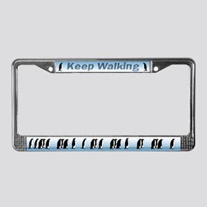 """Keep Walking"" Penguin License Plate Frame"
