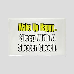 """..Sleep w/ Soccer Coach"" Rectangle Magnet"