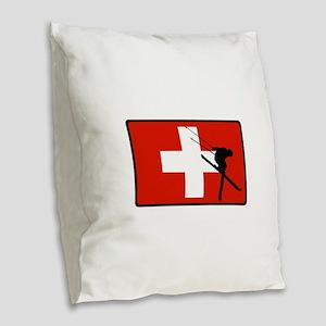 SWISS Burlap Throw Pillow