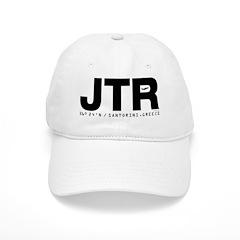 Santorini Airport Code Greece JTR Black Des. Baseball Cap