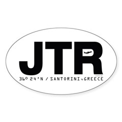 Santorini Greece JTR Black Des. Oval Decal