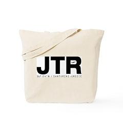 Santorini Airport Greece JTR Black Des. Tote Bag