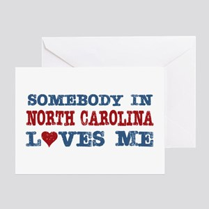 Somebody in North Carolina Loves Me Greeting Card