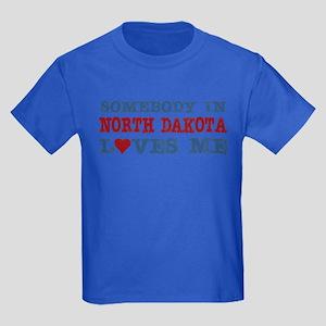 Somebody in North Dakota Loves Me Kids Dark T-Shir