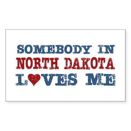 Somebody in North Dakota Loves Me Sticker (Rectang