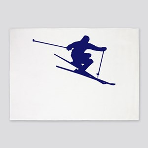 Skiing I Do All My Own Stunts 5'x7'Area Rug