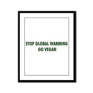 Stop Global Warming! Go Vegan Framed Panel Print