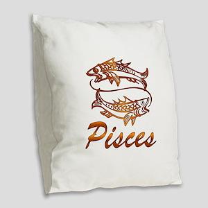 Bronze Pisces Burlap Throw Pillow