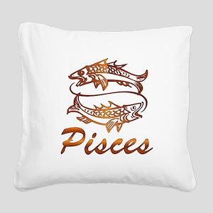Bronze Pisces Square Canvas Pillow