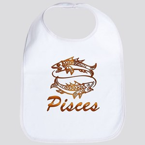 Bronze Pisces Cotton Baby Bib