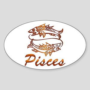 Bronze Pisces Sticker (Oval)