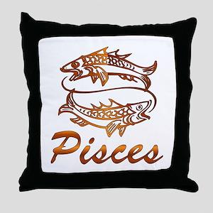 Bronze Pisces Throw Pillow